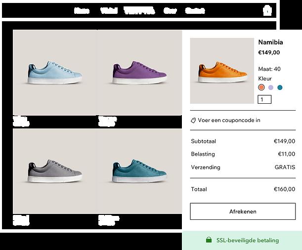 online schoenenwinkel-productgalerij met verschillende sneakervarianten en een beveiligd winkelwagentje en afrekenen van Wix Payments.