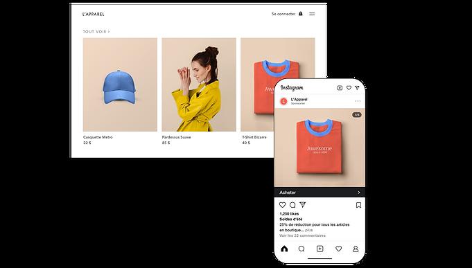 Page produit d'un site de vente en ligne et boutique Instagram en version mobile.