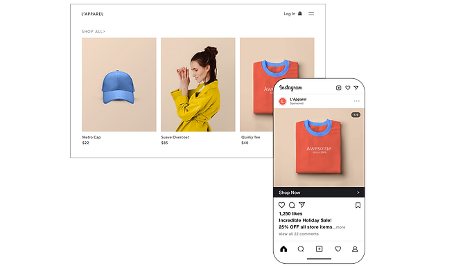 eCommerce website product page and Instagram shop in mobile view.