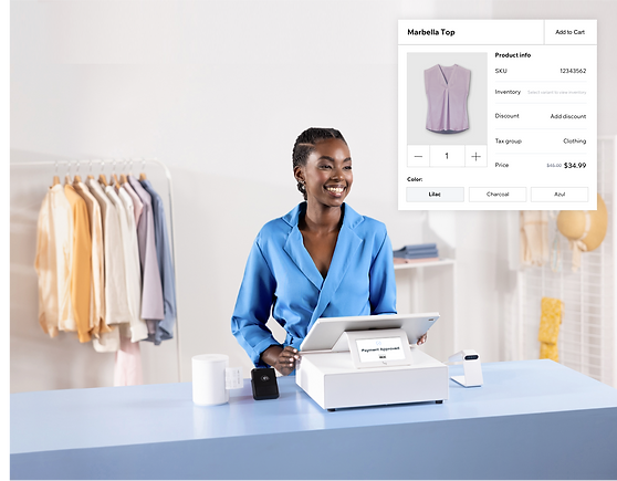 Seller in retail store using Wix Retail POS system, lilac shirt product variant.