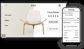 Online-Storefront für Wohneinrichtungen mit Holzstuhl, 7-Tage-Übersicht und mobilem Kassenbereich.