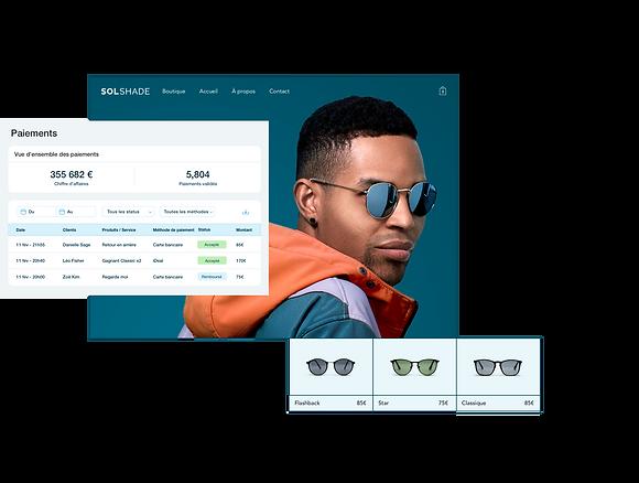 Boutique en ligne de la marque SolShare qui montre le tableau des paiements dans le tableau de bord Wix, vitrine de boutique avec un homme branché et une galerie d'articles avec 3 paires de lunettes de soleil.