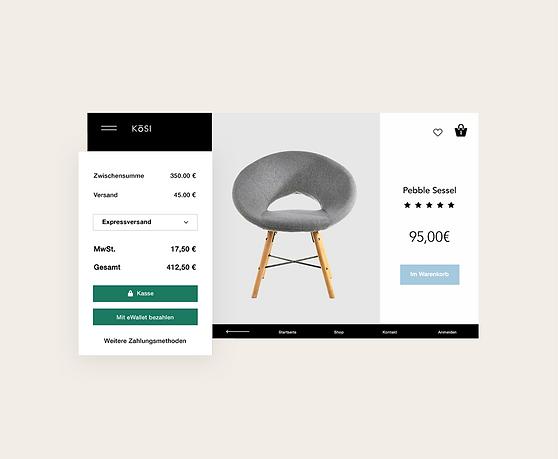 Transaktionen eines Onlineshops in der Verwaltung, benutzerdefinierter Auszahlungsplan und Produktgalerie eines Möbelhauses.
