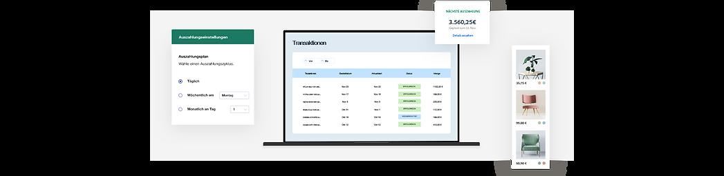 Dashboard für Onlineshop-Transaktionen, benutzerdefinierter Auszahlungsplan und Möbelproduktgalerie.