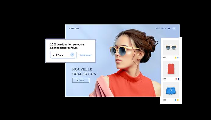 Page d'accueil du site de vente en ligne L'Apparel avec le menu des produits, et un bon de réduction pour l'abonnement Wix Premium pour les utilisateurs de cartes Visa.