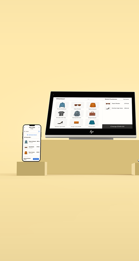 Yellow background with Wix POS solutions: sell online, in-store and on the go from your desktop, Wix POS tablet or Wix POS Mobile.