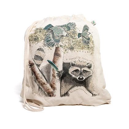 tricksy racoon drawstring bag
