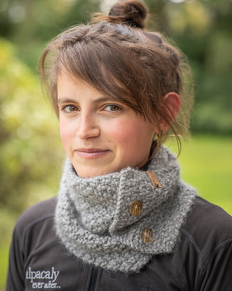 hand knitted winter button cowl