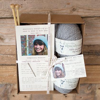 turn up beanie knitting kit