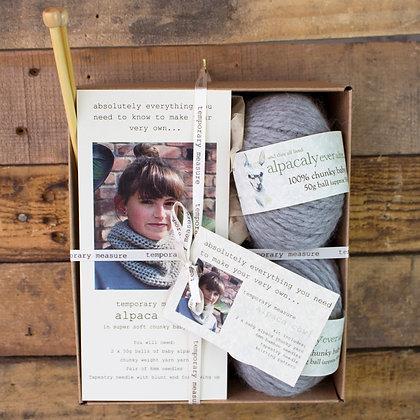 alpaca cowl knitting kit