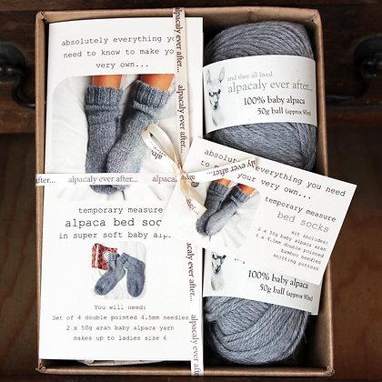 alpaca bed sock knitting kit