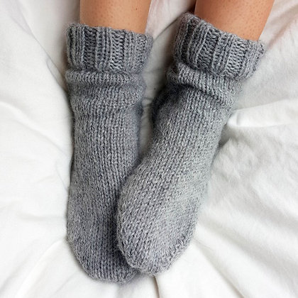 hand knitted alpaca bed socks
