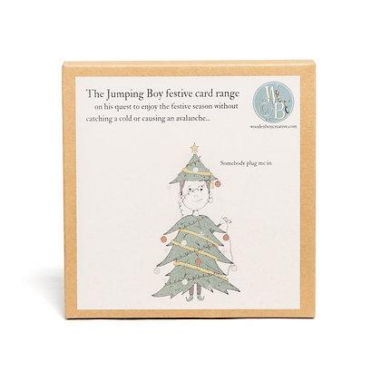jumping boy festive greetings card pack