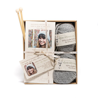 turn up beanie knitting kit