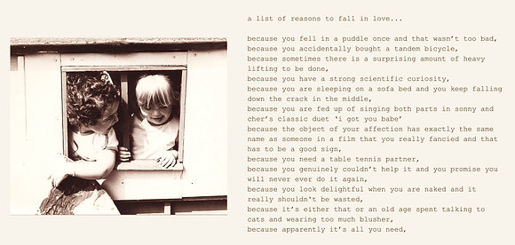 a list of reasons to fall in love...