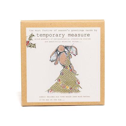 rabbit and bear festive greetings card pack
