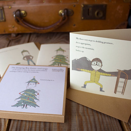 jumping boy festive greetings card pack