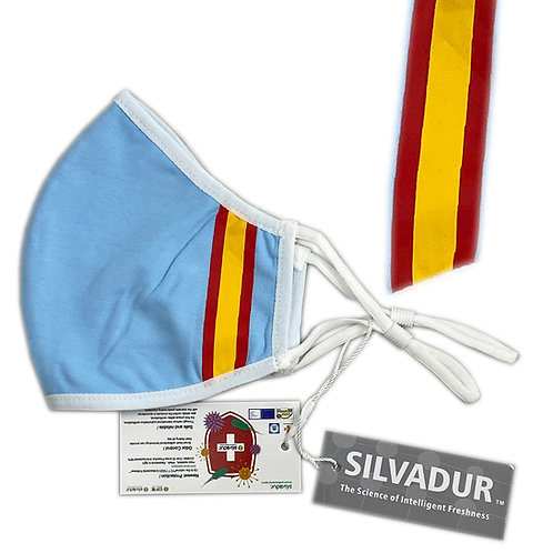 Mascarilla Antibacterial Silvadur   GOLDEN ROSE PLANET / ADULTOS / COLOR AZUL / TELA / BANDERA ESPAÑOLA /