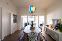 Dining room with high ceilings
