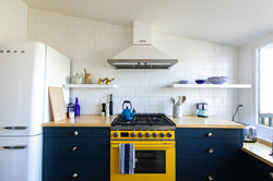 An eye-popping yellow stove
