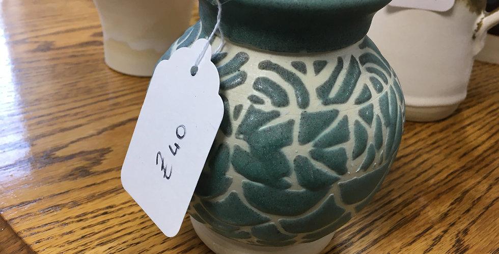 Teal & White short vase