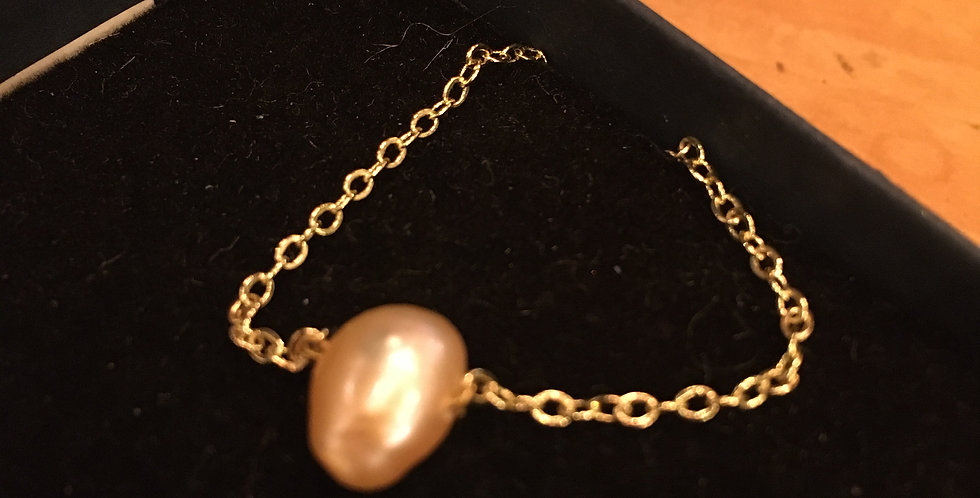 Pink Cultivated Pearl, Gold Chain