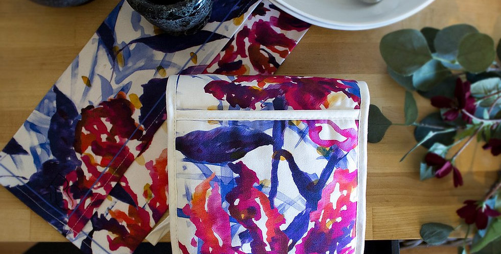 Oven Gloves - Abstract Floral