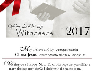 Be a true witness of Christ in 2017