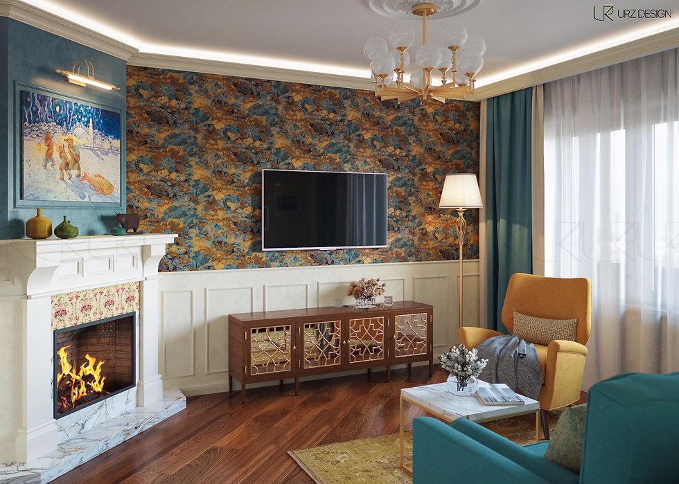 Дизайн гостиной в стиле Фьюжн / Современная классика / Эклектика