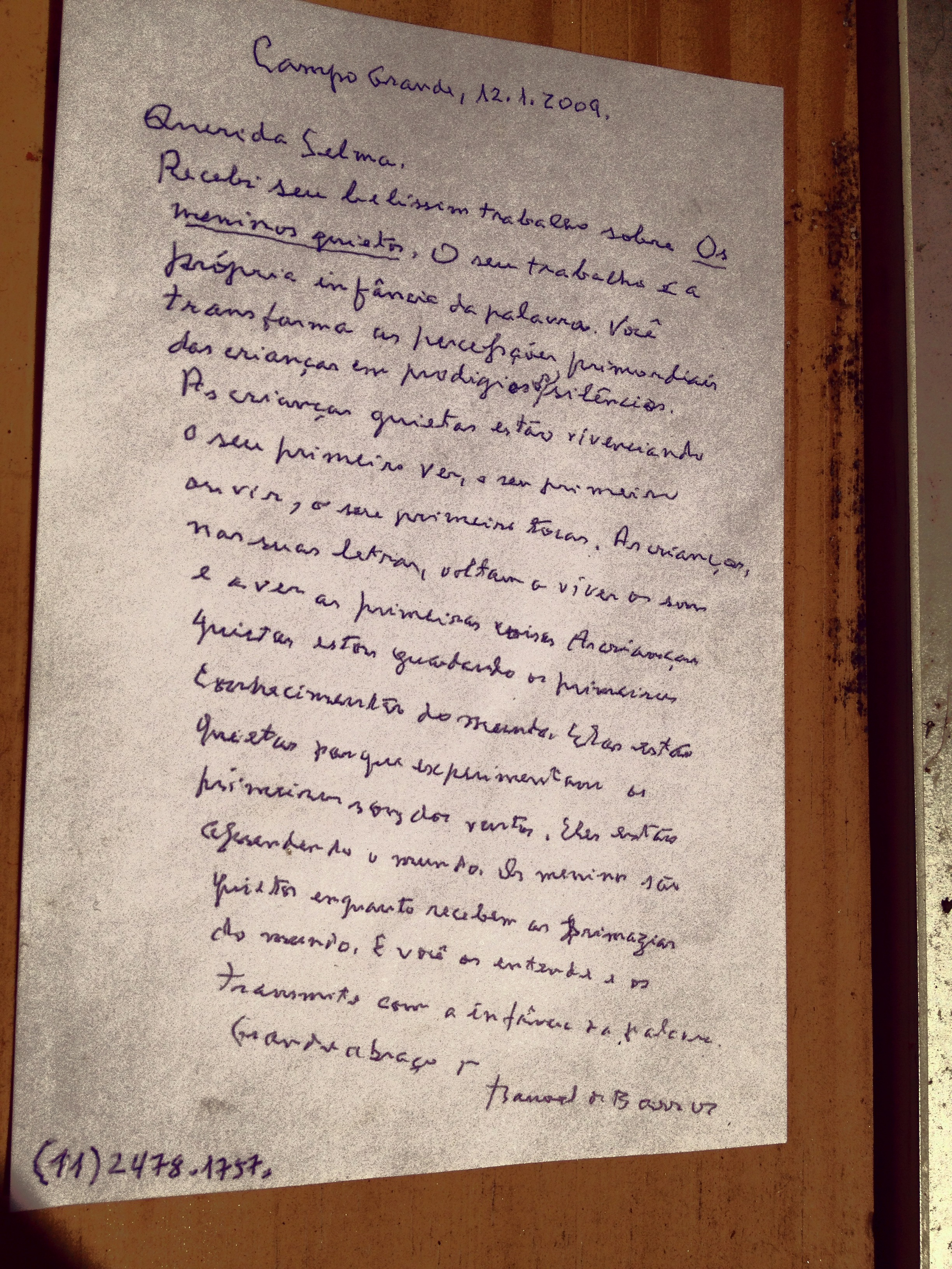 Carta de Manoel de Barros