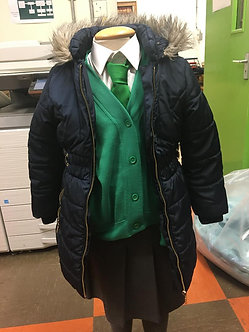 Girls Navy Padded Coat with Faux Fur Hood