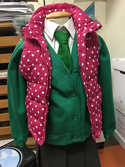 Girls Pink Spotted Sleeveless Body Warmer with Hood