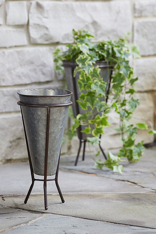 Metal Pot in Iron Stand (Set of 2)