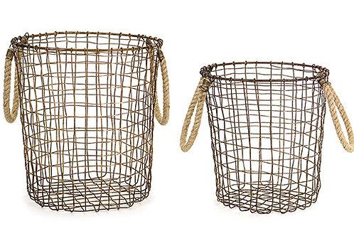 Metal Woven Baskets w/ jute handles (set of 2)