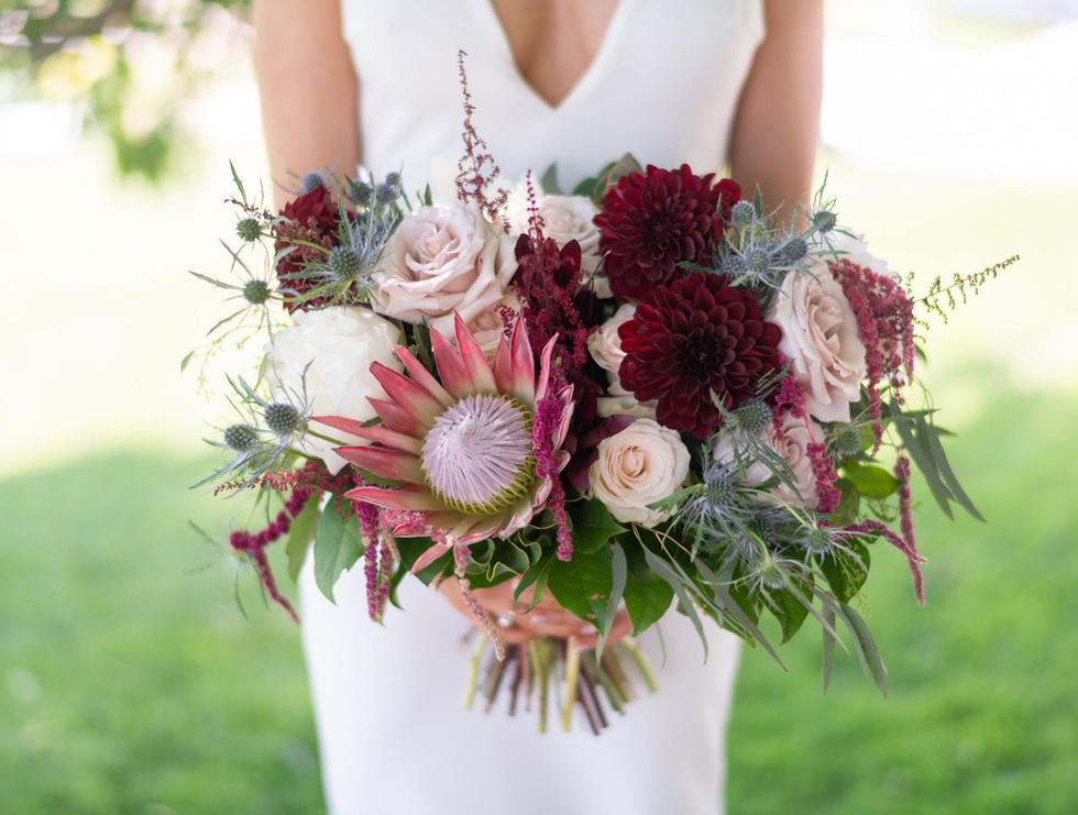 Emily and her bouquet