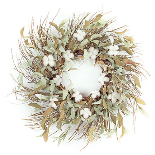 "28"" Cotton Leaf Wreath"