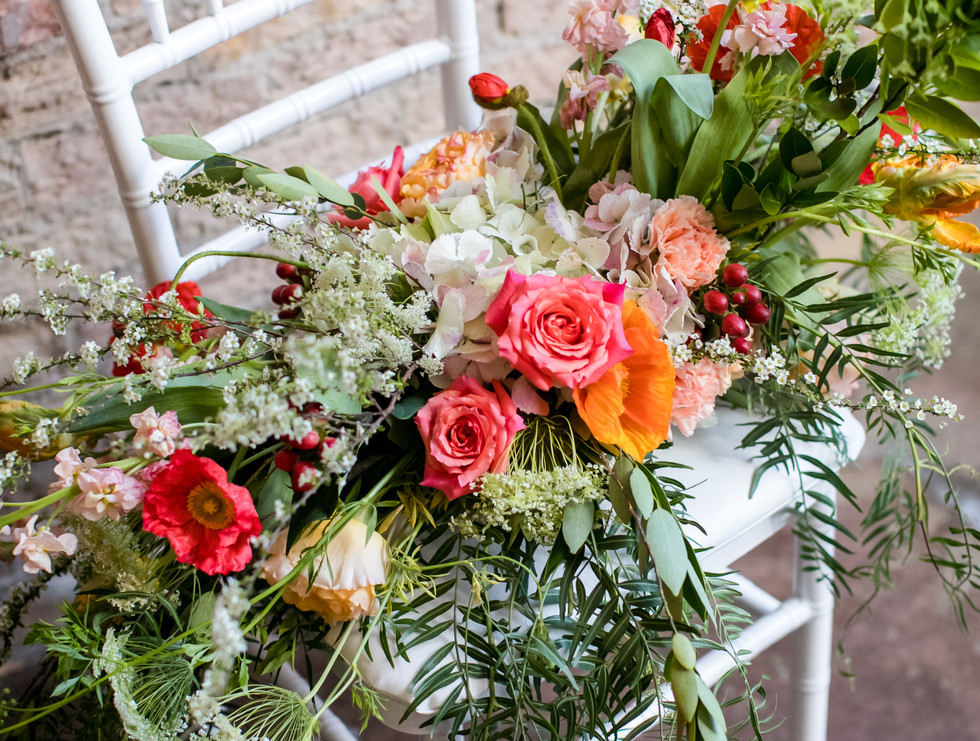 Bright and colorful basket bridal bouquet