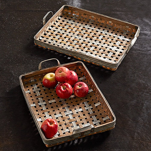 Woven Bamboo Serving Trays (Set of 2)