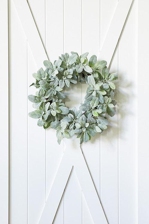 """Lambs Ear Wreath - Faux  20.5"""""""