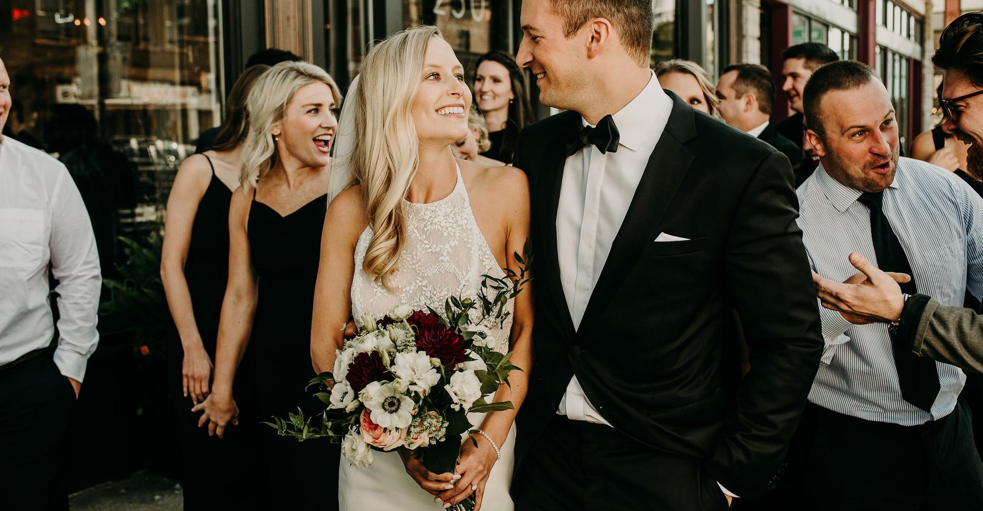 Rachel & Michael having a bit of fun before the reception