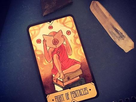 Daily Tarot Advice:  8 Pentacles - Sasuraibito Tarot
