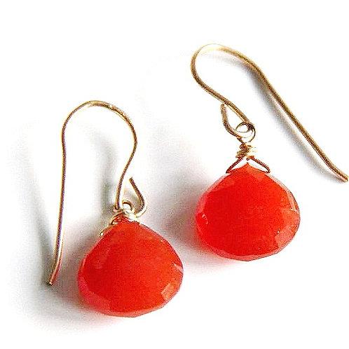 Heart Shaped Carnelian Gold Earrings