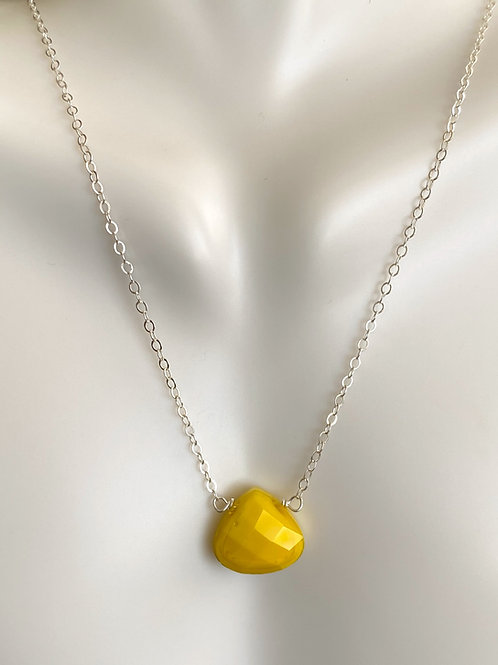 Crystal drop on sterling silver necklace