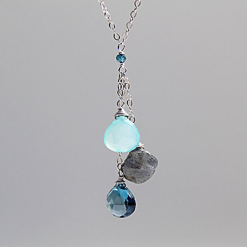 Chalcedony, Labradorite and London Blue Topaz Silver Necklace