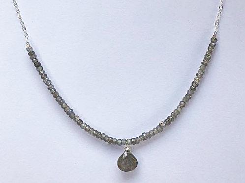 Labradorite Rondelles with Labradorite Drop Silver Necklace