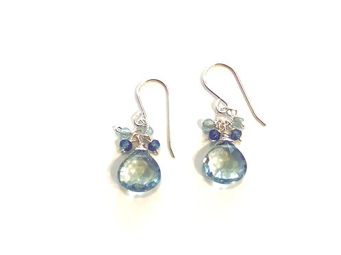 Blue Topaz and London Blue Topaz in Sterling Silver Earring