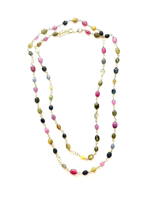 "35"" Multi Colored Sapphire Gold Necklace"