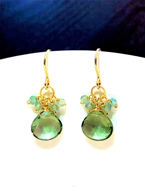 Green Amethyst Drops with Apatite Rondelles.