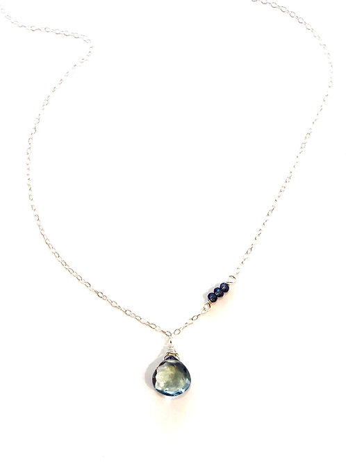 Blue Topaz and London Blue Topaz in Sterling Silver Necklace