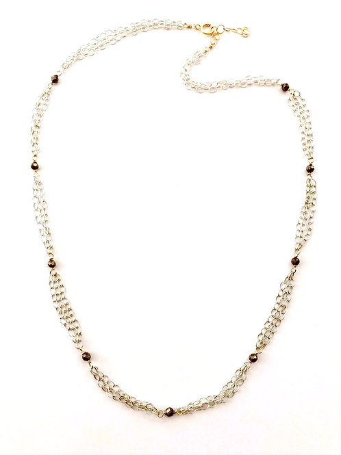Two Tone Necklace with Sections of Triple Chain and Pyrite Rondelles